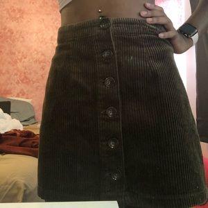 Brown Corduroy Button Skirt